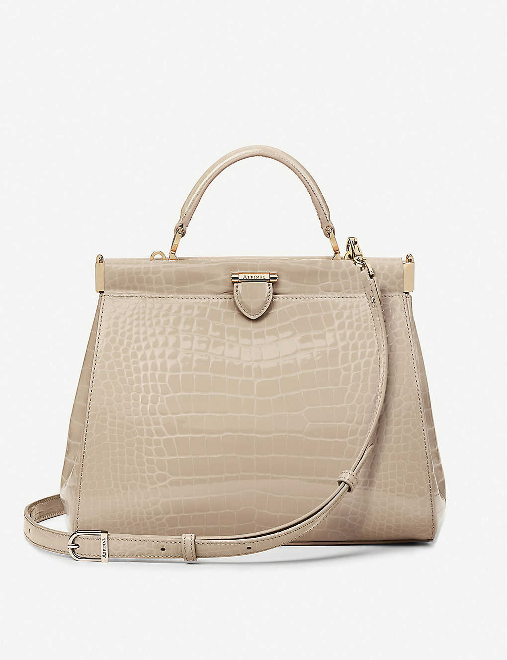 ASPINAL OF LONDON: Florence Frame small crocodile-embossed leather tote bag