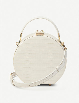 ASPINAL OF LONDON: Hat Box Mini crocodile-embossed patent leather clutch bag