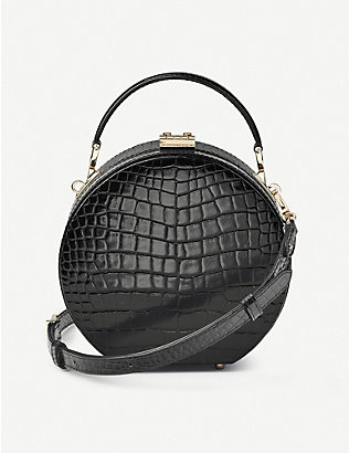 ASPINAL OF LONDON: Round croc-embossed patent-leather hat box bag