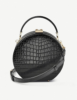 ASPINAL OF LONDON Round croc-embossed patent-leather hat box bag