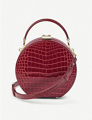 ASPINAL OF LONDON: Mini hat box crocodile-embossed leather bag