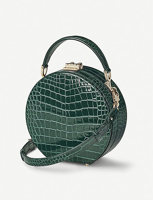 ASPINAL OF LONDON Hat Box Mini crocodile-embossed patent leather clutch bag
