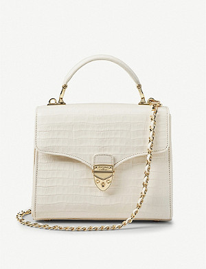 ASPINAL OF LONDON Mayfair midi patent crocodile-embossed leather bag