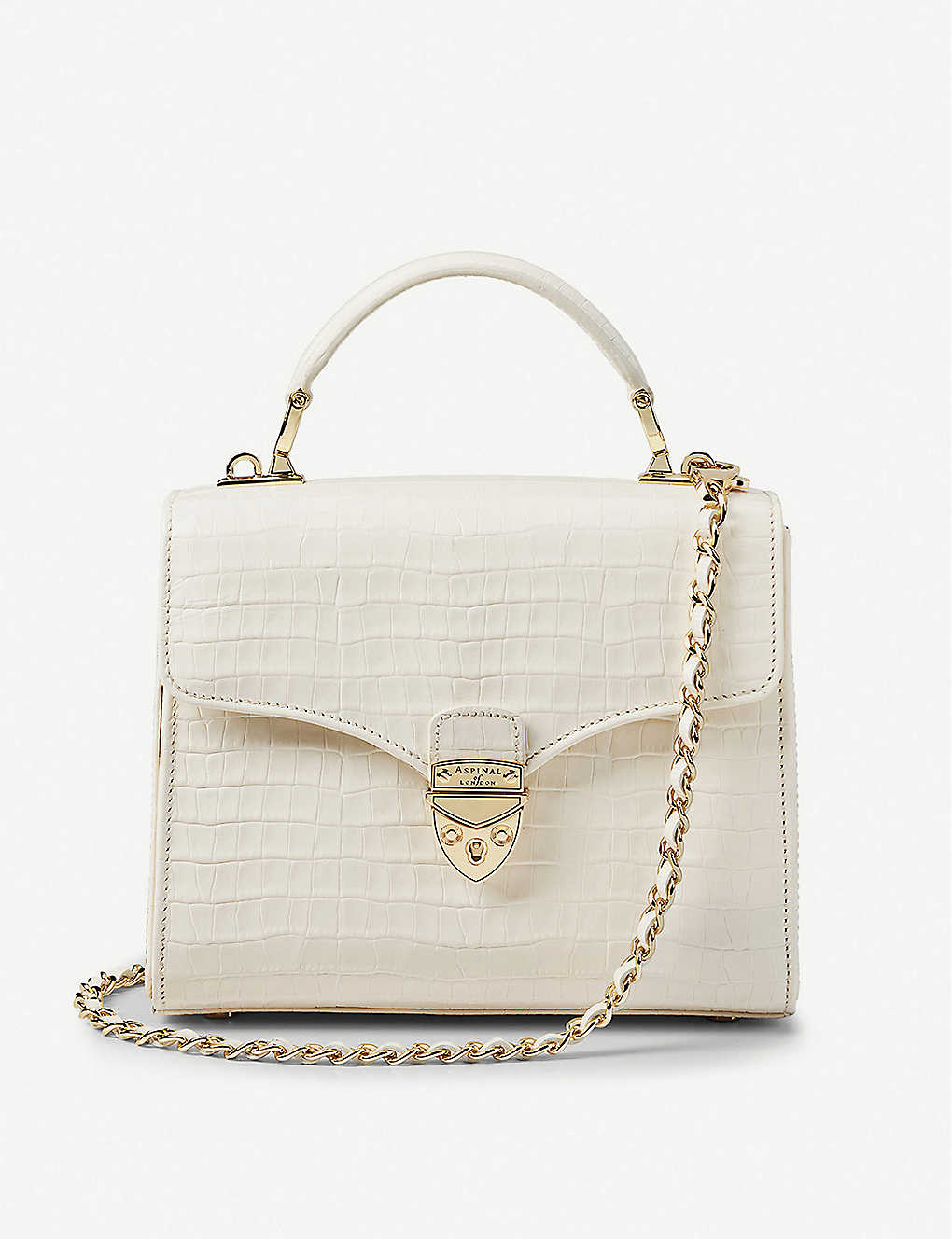 ASPINAL OF LONDON: Mayfair midi patent crocodile-embossed leather bag