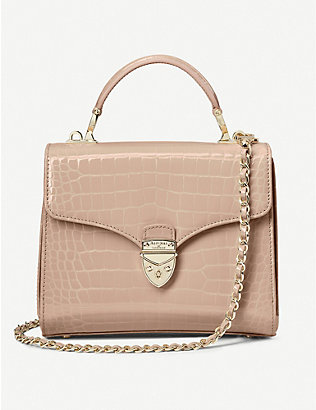 ASPINAL OF LONDON: Mayfair midi crocodile-embossed leather bag