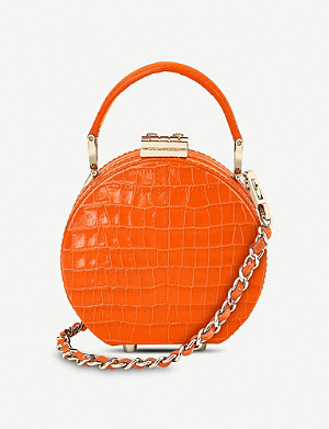 ASPINAL OF LONDON Mini croc-embossed leather hat-box bag