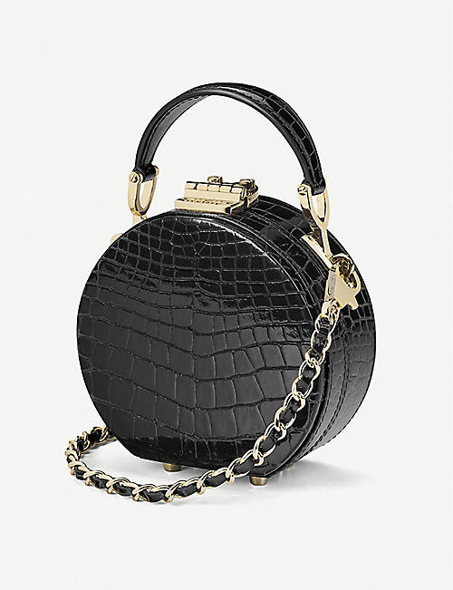 ASPINAL OF LONDON Hat Box Micro crocodile-embossed patent leather clutch bag