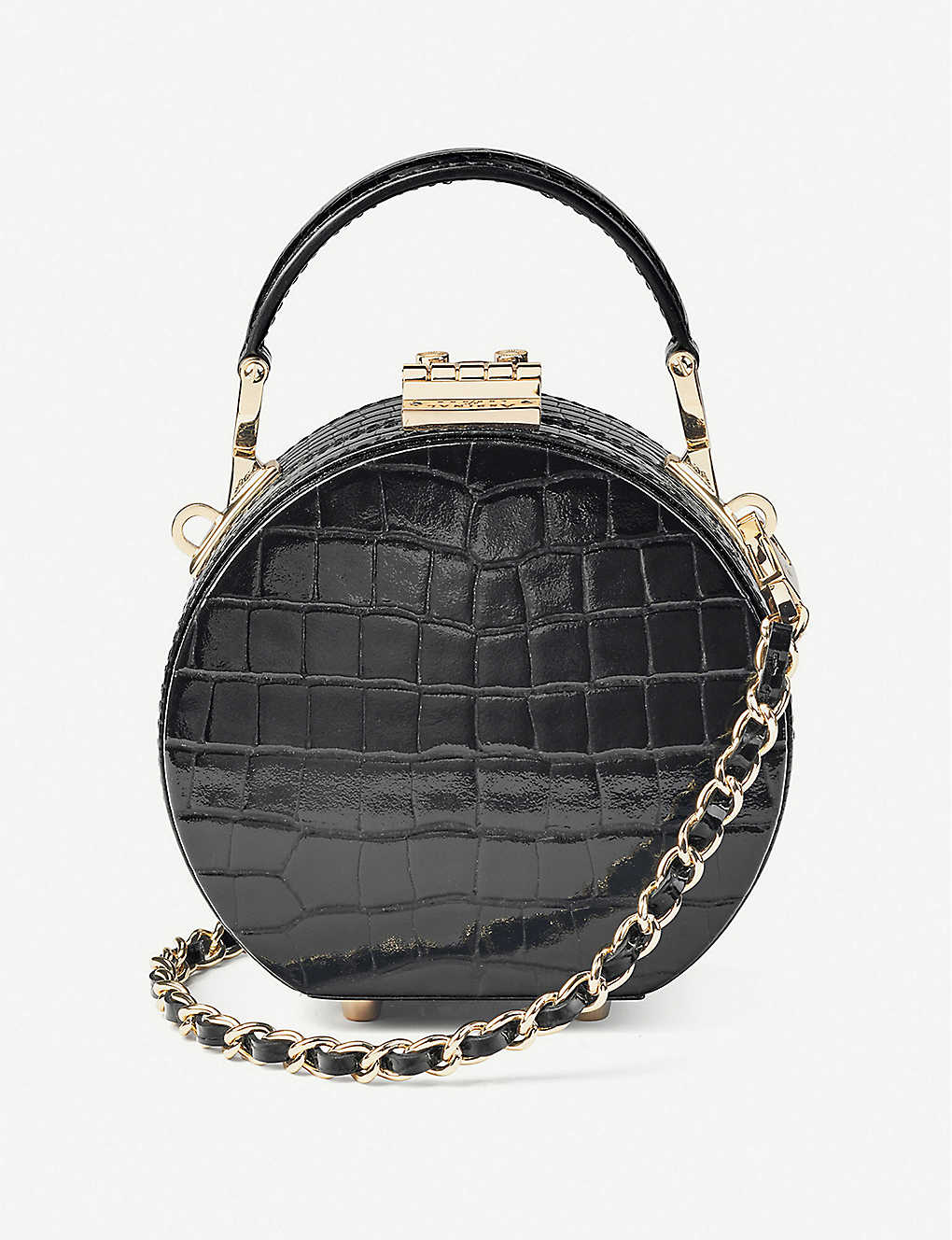 ASPINAL OF LONDON: Hat Box Micro crocodile-embossed patent leather clutch bag