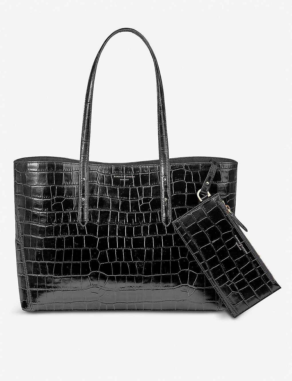 ASPINAL OF LONDON: Regent crocodile-embossed leather tote