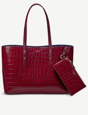ASPINAL OF LONDON Regent crocodile-embossed leather tote
