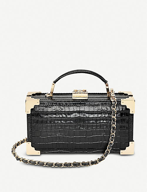 e5d279436 ASPINAL OF LONDON Trinket Box croc-embossed leather cross-body bag