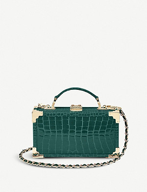 ASPINAL OF LONDON Trinket Box crocodile-embossed leather clutch bag