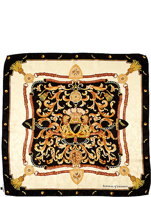 ASPINAL OF LONDON Signature Shield printed silk scarf