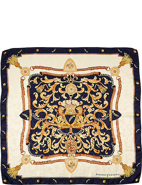 ASPINAL OF LONDON: Signature print silk scarf