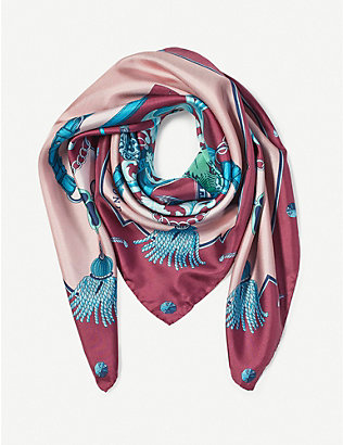 ASPINAL OF LONDON: Signature Shield silk scarf