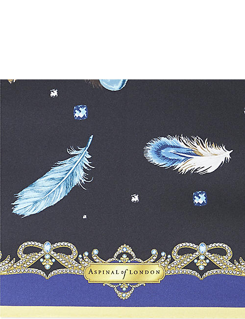 ASPINAL OF LONDON Feather print silk scarf