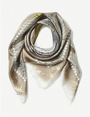 ASPINAL OF LONDON: Pegasus Constellation silk scarf 90cm x 90cm