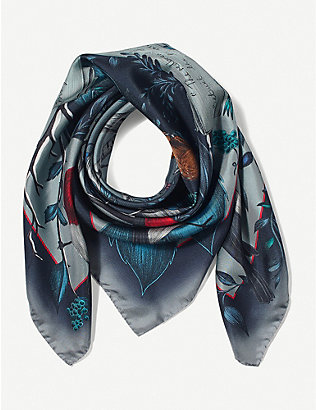ASPINAL OF LONDON: Robin silk scarf 90cm x 90cm