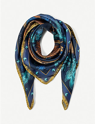 ASPINAL OF LONDON: Lion and Peacock silk scarf