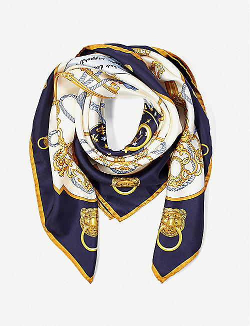 ASPINAL OF LONDON: Lion & Key silk scarf 90cmx90cm