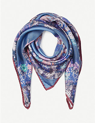 ASPINAL OF LONDON: Ombré 'A' floral silk scarf