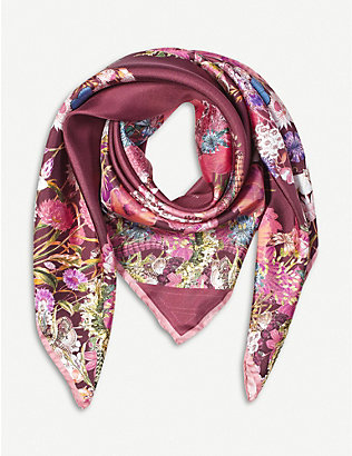 ASPINAL OF LONDON: Ombré 'A' floral-print silk scarf
