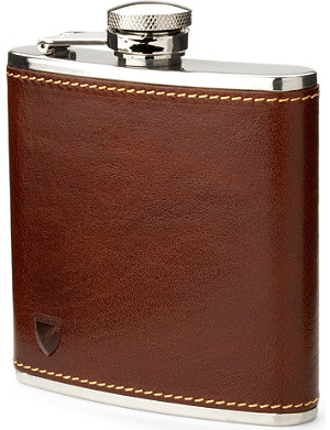 ASPINAL OF LONDON Classic smooth leather hip flask