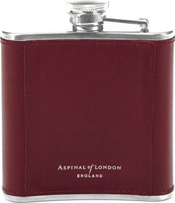 ASPINAL OF LONDON Classic leather-bound hip flask 5oz