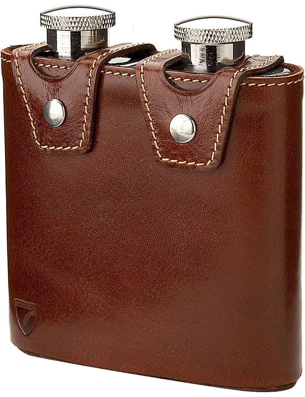 ASPINAL OF LONDON: Double leather hip flask