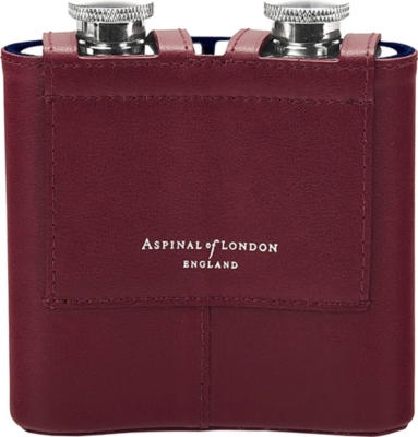 ASPINAL OF LONDON Double leather hip flask
