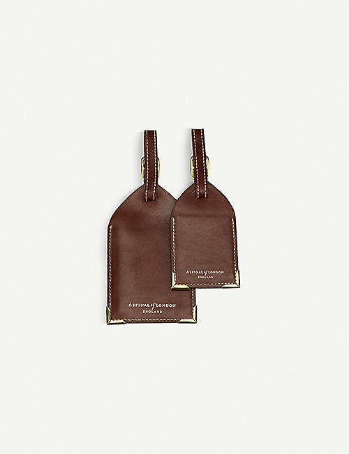 ASPINAL OF LONDON: Set of 2 leather luggage tags