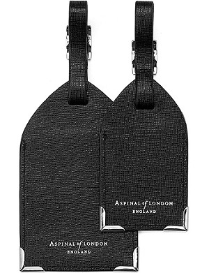 ASPINAL OF LONDON Set of two luggage tags black saffiano