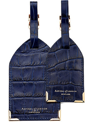 ASPINAL OF LONDON Set of two lizard-embossed leather luggage tags