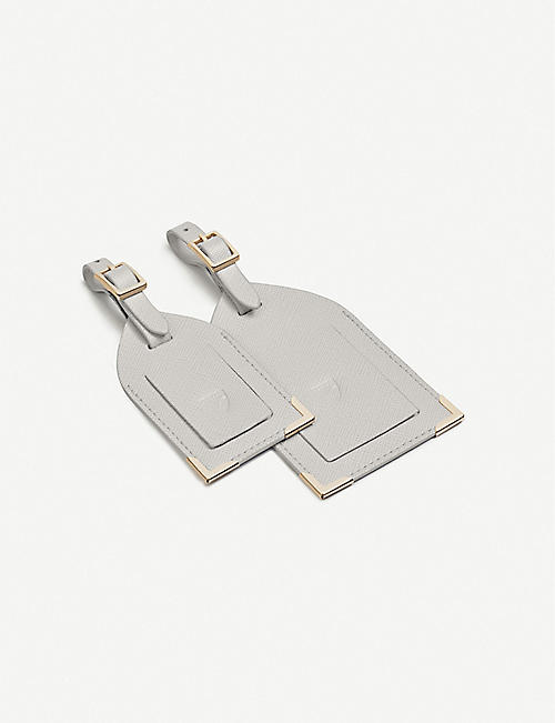 ASPINAL OF LONDON: Leather luggage tags set of two