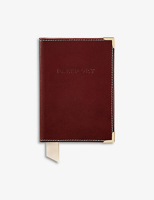 ASPINAL OF LONDON: Plain leather passport cover