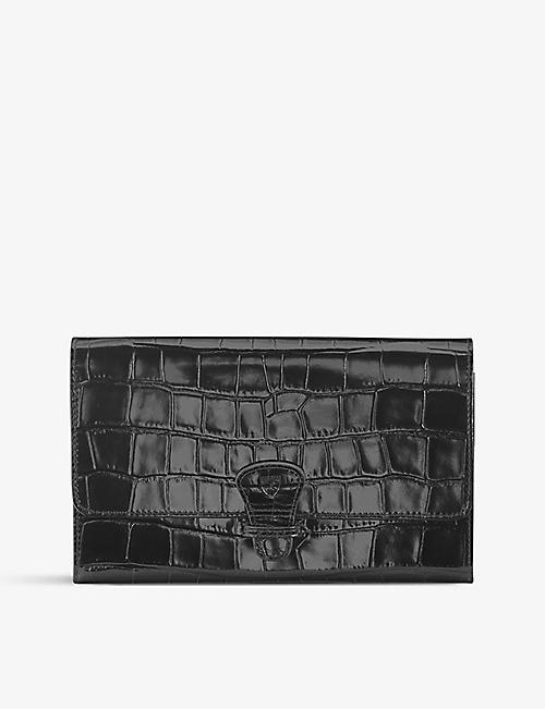 ASPINAL OF LONDON Classic croc-embossed leather travel wallet