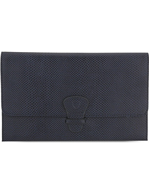 ASPINAL OF LONDON Classic lizard-effect leather travel wallet