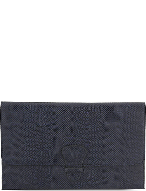 bf12b5e3ce5f3 ASPINAL OF LONDON Classic lizard-effect leather travel wallet