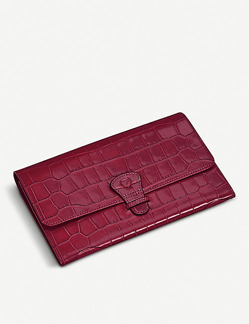 ASPINAL OF LONDON Crocodile-print leather travel wallet