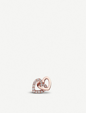 LOQUET Always Together interlinking-hearts 18ct rose-gold and diamond charm