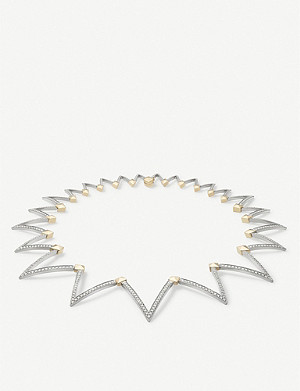 VASHI Lovestrike 18k yellow-gold, 18k white-gold and diamond choker necklace
