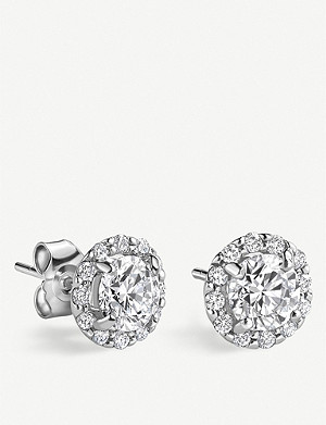 VASHI Halo platinum and diamond earrings