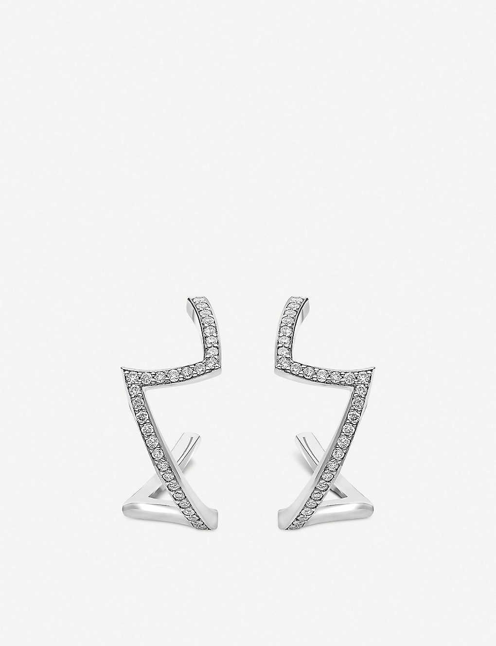Diamond-set platinum earrings