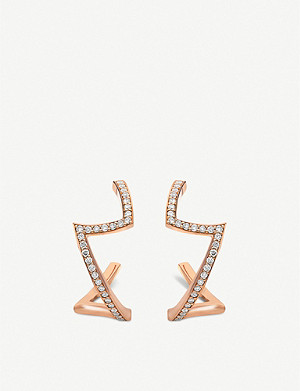 VASHI Lovestrike 18k rose-gold and diamond earrings
