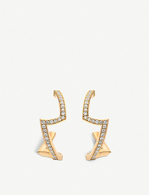 VASHI Lovestrike 18k yellow-gold and diamond earrings
