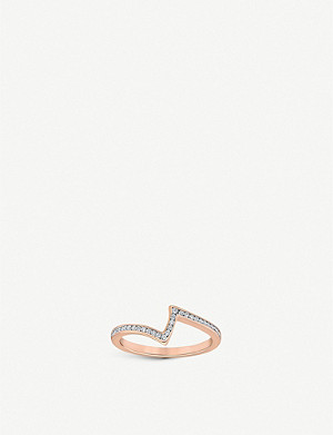 VASHI Lovestrike Channel 18k rose-gold and diamond ring