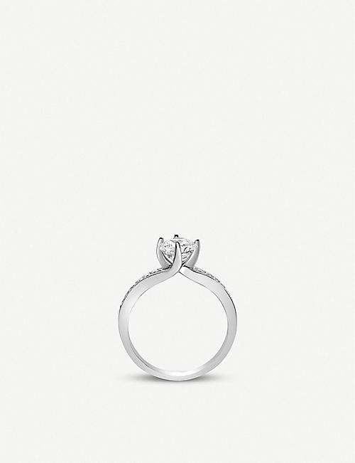 VASHI Twist 18k white-gold pave diamond ring