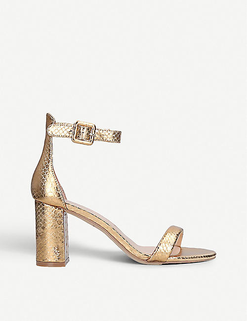 KURT GEIGER LONDON Langley metallic crocodile-embossed leather sandals