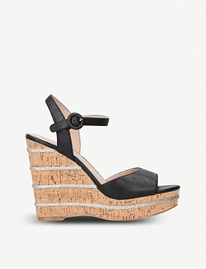 KURT GEIGER LONDON Ally leather wedge sandals
