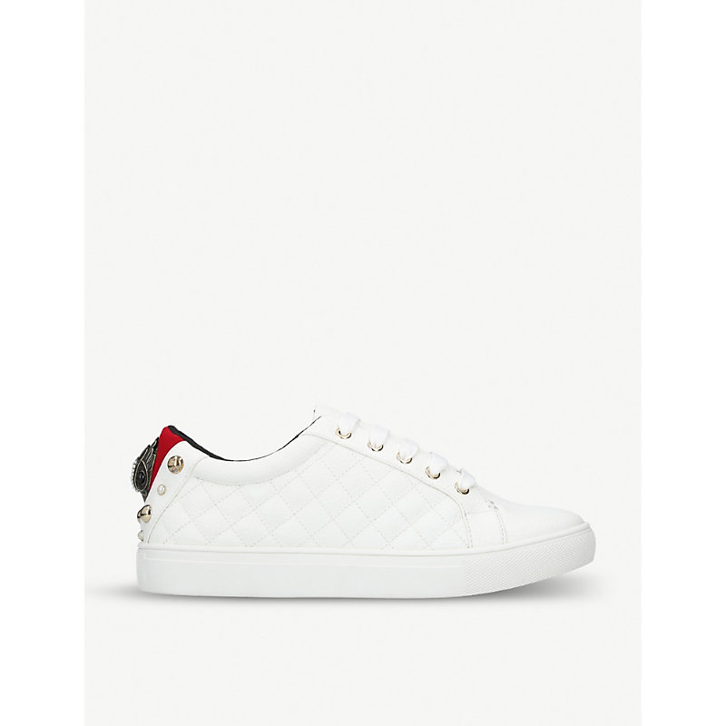 Ludo Quilted Eagle-Detailed Trainers in White
